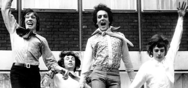 Da esquerda para a direita., Roger Waters, Nick Mason, Syd Barrett e Richard Wright, do Pink Floyd, em março de 1967