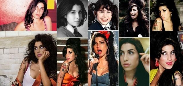 Montagem com várias fases da vida de Amy Winehouse