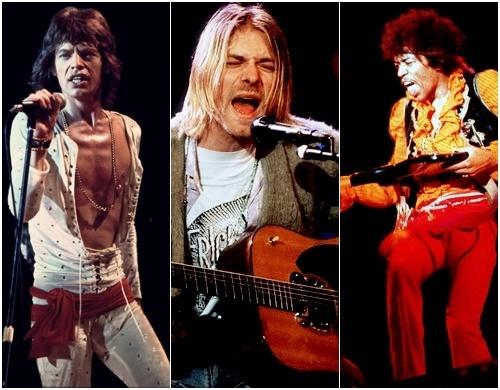Mick Jagger, Kurt Cobain, Jimi Hendrix